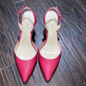 Nine Wesf sling back pointy pink heels
